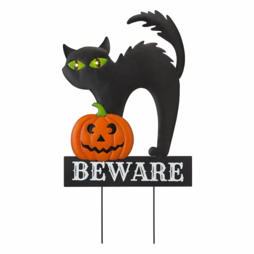 Glitzhome Light Up Halloween Metal Black Cat Yard Stake Perspective: front