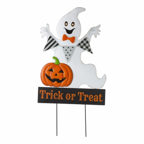 Glitzhome Lighted Halloween Metal Ghost Yard Stake Perspective: front