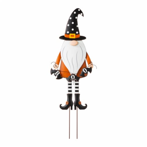 Glitzhome Metal Gnome with Witch Hat Yard Stake Perspective: front