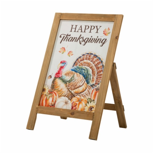 Glitzhome Wooden Thanksgiving Turkey Easel Porch Sign Perspective: front