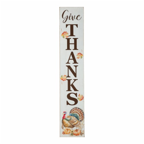 Glitzhome Wooden Give Thanks Porch Sign Perspective: front