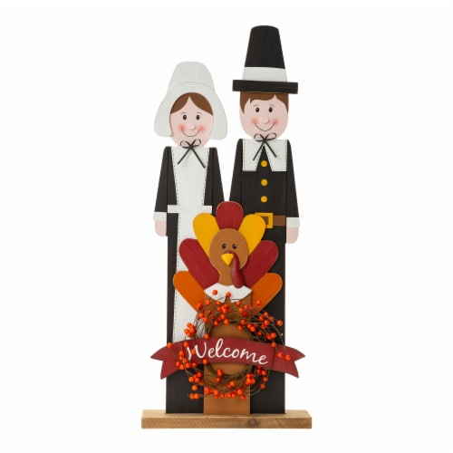 Glitzhome Wooden Pilgrim Couple with Turkey Porch Decor Perspective: front