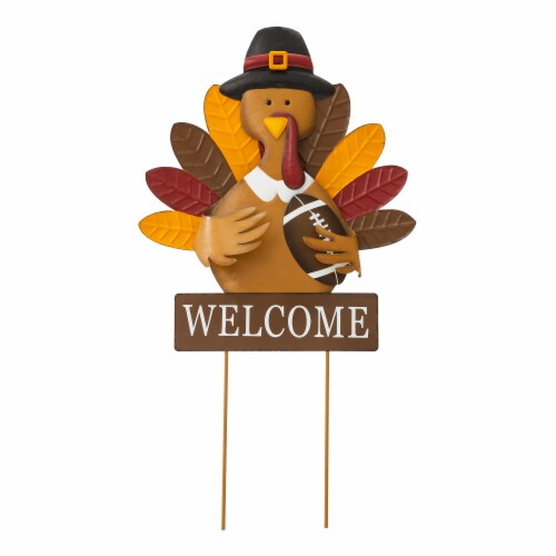 Glitzhome Thanksgiving Metal Turkey Yard Stake Decor Perspective: front