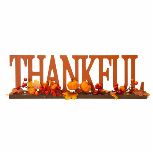 Glitzhome Thankful Orange Wooden Table Decor Perspective: front