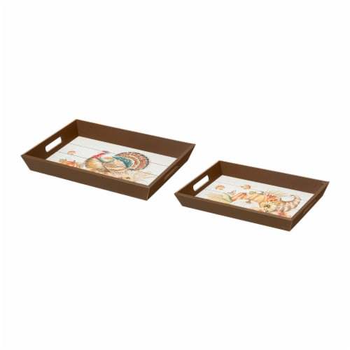 Glitzhome Wooden Turkey Serving Tray Perspective: front