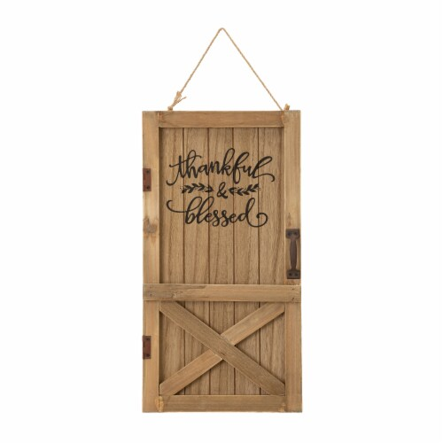 Glitzhome Natural Wooden Barn Door Decor Perspective: front