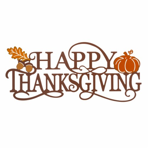 Glitzhome Happy Thanksgiving Metal Wall Decor Perspective: front