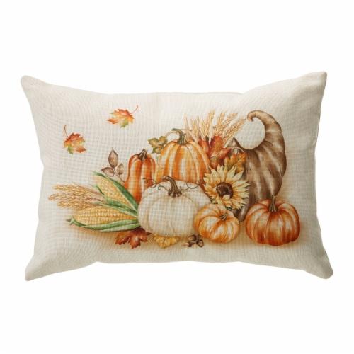 Glitzhome Faux Burlap Thanksgiving Croissant Pillow Perspective: front