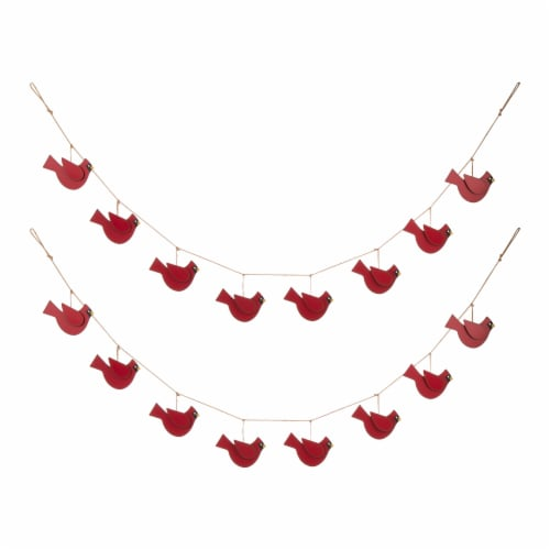 Glitzhome Metal Christmas Birds Garland with Shaped Cardinals Perspective: front