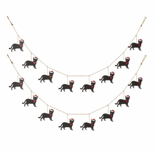 Glitzhome Metal Christmas Kitty Garland Perspective: front
