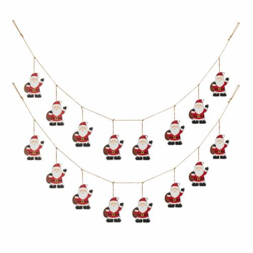 Glitzhome Metal Christmas Santa Garland Perspective: front