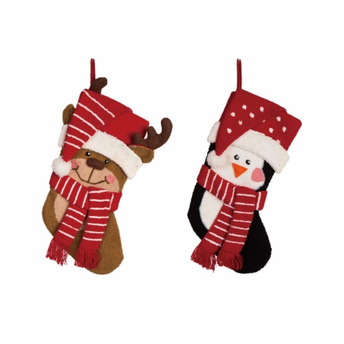 Glitzhome Hooked Stocking with Penguin & Reindeer Perspective: front