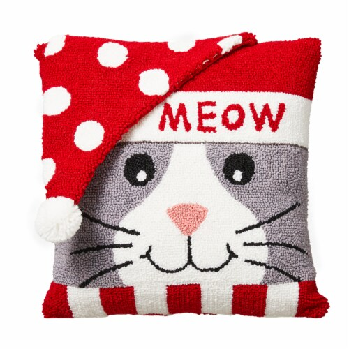 Glitzhome Hooked 3D Meow Pillow Perspective: front