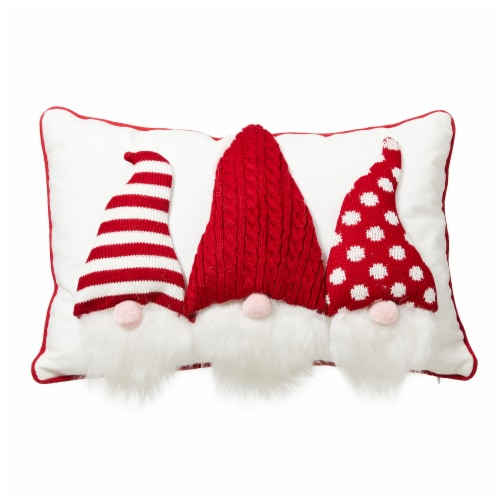 Glitzhome 3D Heavy Cotton Knitted Gnome Pillow Perspective: front