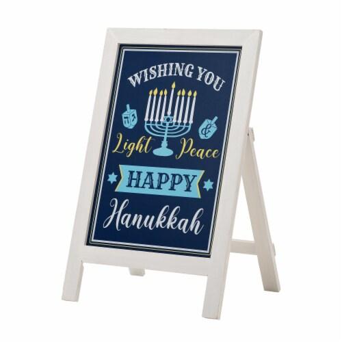 Glitzhome Hanukkah Wooden Porch Sign Perspective: front