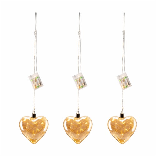 Glitzhome Christmas Glass Heart Wall Décor w/String Lights Perspective: front