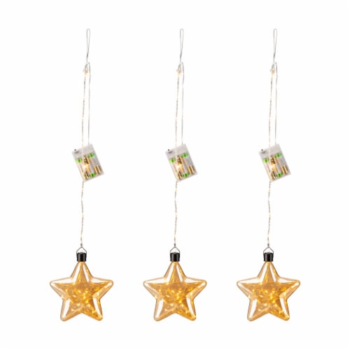 Glitzhome Christmas Glass Star Wall Décor w/String Lights Perspective: front