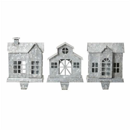 Glitzhome Galvanized House Stocking Holders Perspective: front