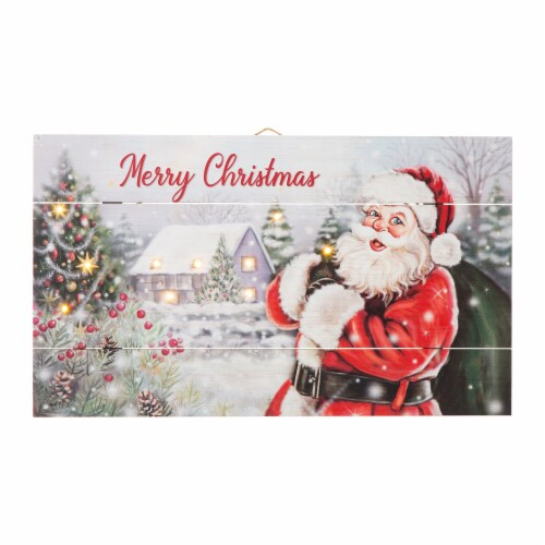 Glitzhome Lighted Wooden Santa Wall Decor Perspective: front