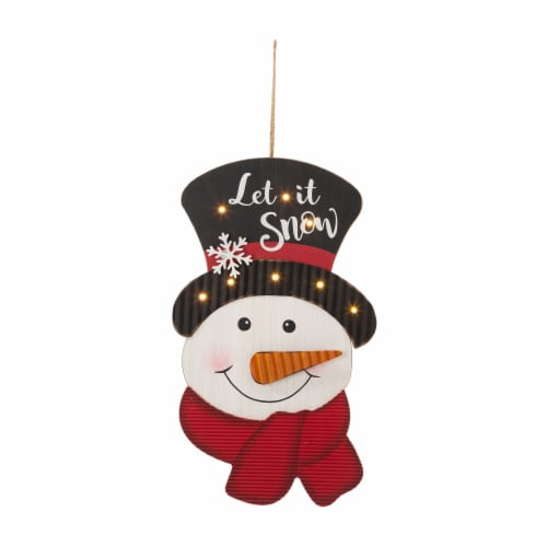 Glitzhome Lighted 3D Wooden Metal Snowman Wall Decor Perspective: front