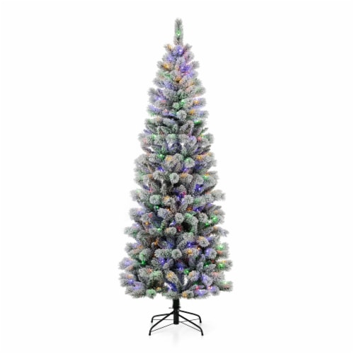 Glitzhome Pre-Lit Flocked Artificial Christmas Tree Perspective: front