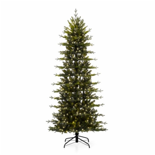 Glitzhome Pre-Lit Artificial Christmas Tree with LED Light Bulbs Perspective: front