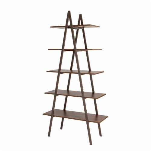 Glitzhome Modern Industry Metal/Wooden 5-Tier A Frame Bookcase & Shelves - Brown Perspective: front