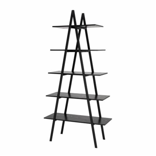 Glitzhome Modern Industry Metal/Wooden 5-Tier A Frame Bookcase & Shelves - Black Perspective: front
