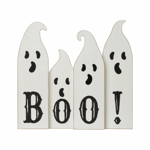 Glitzhome Halloween Boo! Wooden Ghost Table Decor Perspective: front