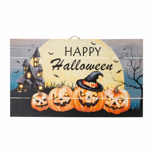 Glitzhome Happy Halloween Wooden Wall Decor With Warm White LED Lights Perspective: front