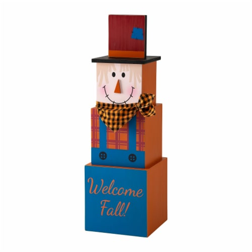 Glitzhome Jack-O-Lantern and Scarecrow Double Sided Wooden Porch Decor Perspective: front