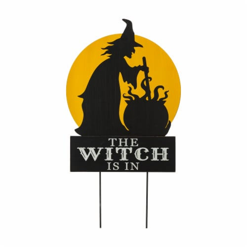 Glitzhome Halloween The Witch Is In Yard Stake Decor Perspective: front