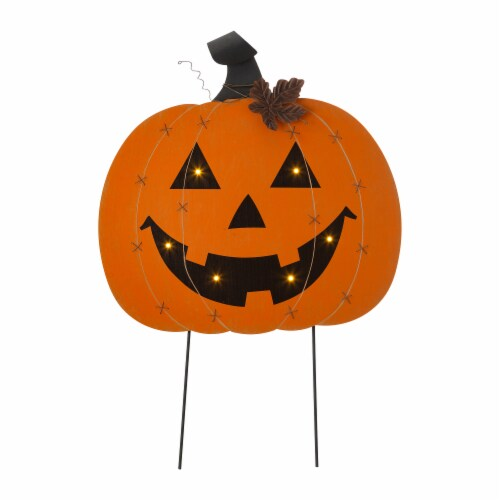 Glitzhome Halloween Wooden & Metal Pumpkin Yard Stake Decor Perspective: front