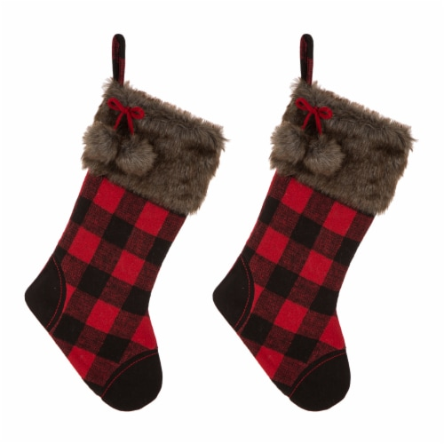 Glitzhome Fur Buffalo Plaid Stockings -  Black/Red Perspective: front