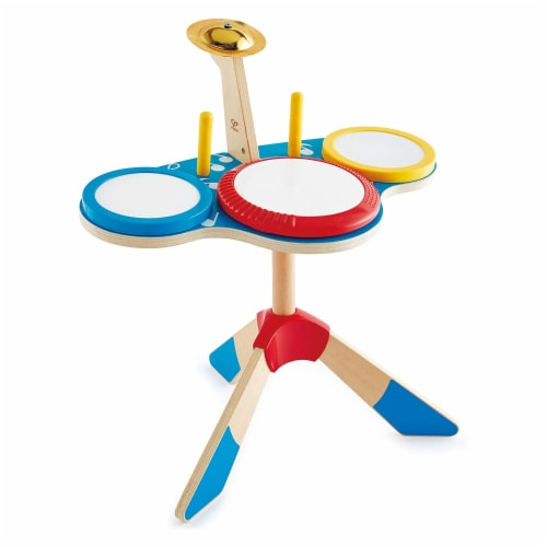 Hape Drum and Cymbal Instrument Play Set w/ 2 Drum Sticks for Kids Ages 3 and Up Perspective: front