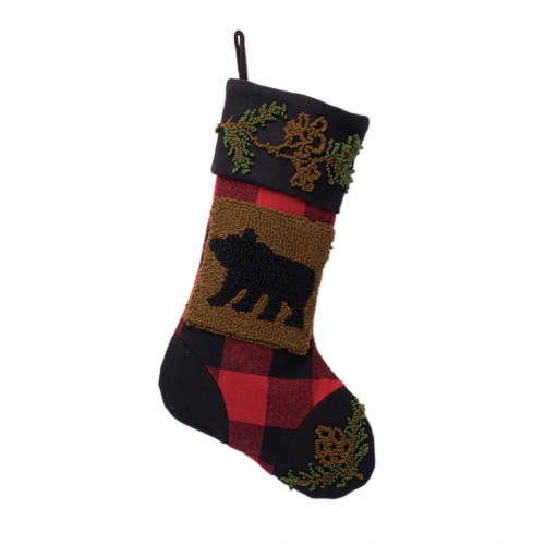 Glitzhome Bear Plaid Stocking Perspective: front