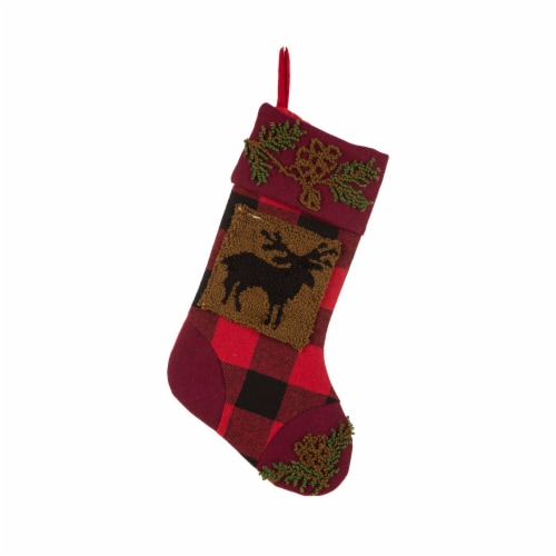 Glitzhome Reindeer Plaid Christmas Stocking Perspective: front