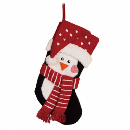 Glitzhome Penguin Hooked Christmas Stocking Perspective: front