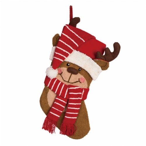 Glitzhome Reindeer Hooked Christmas Stocking Perspective: front