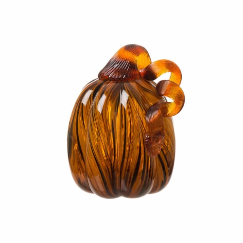 Glitzhome Handmade Striped Glass Pumpkin Perspective: front