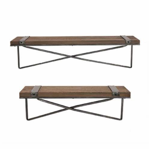 Glitzhome Rustic Farmhouse Metal/Wooden Wall Shelves Perspective: front