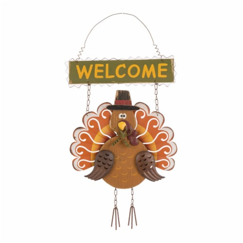 Glitzhome Iron/Wooden Turkey Welcome Wall Decoration Perspective: front