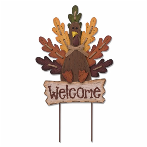 Glitzhome Burlap/Wooden Turkey Welcome Sign Perspective: front