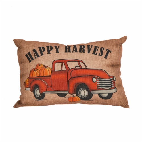 Glitzhome Faux Burlap Happy Harvest Truck Pumpkins Pillow Perspective: front