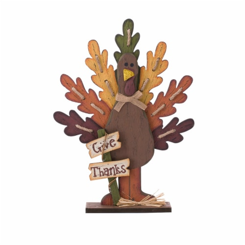 Glitzhome Burlap/Wooden Turkey Thanksgiving Table Decoration Perspective: front