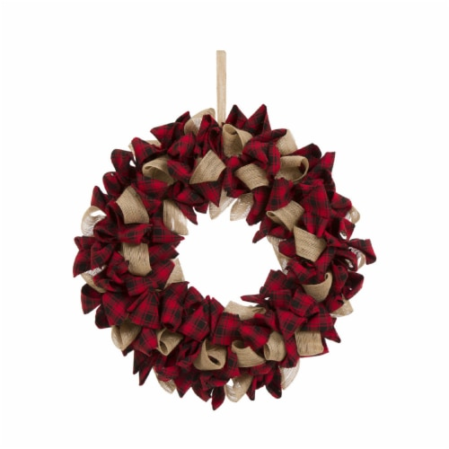 Glitzhome Plaid Fabric Wreath Decor - Red Perspective: front