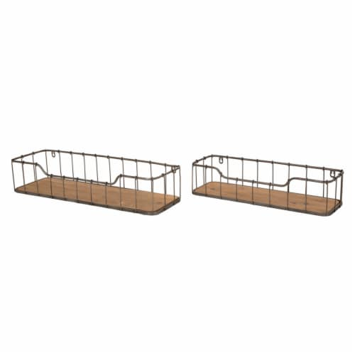 Glitzhome Rustic Wooden & Metal Wall Shelves Pair Perspective: front