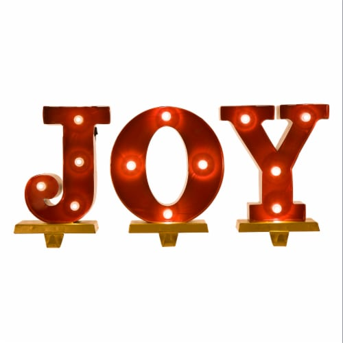 Glitzhome JOY Christmas Stocking Holder Set Perspective: front