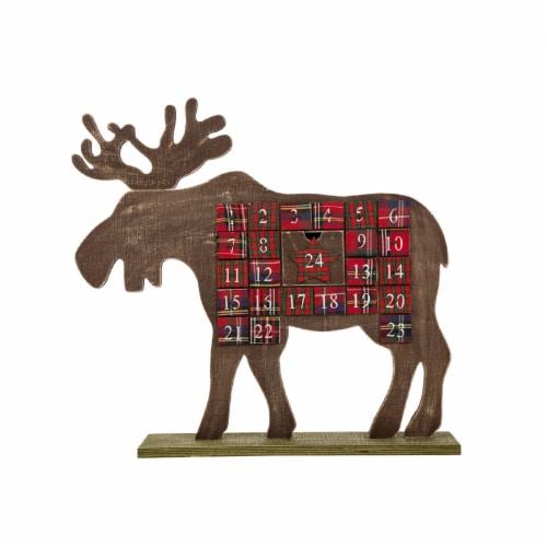 Glitzhome Wooden Reindeer Countdown Calendar Perspective: front