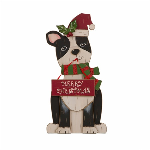 Glitzhome Wooden Dog Figurine Christmas Decor - Black/Red Perspective: front